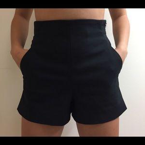 Zara Black High Waisted Summer Shorts